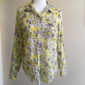 Lightweight Yellow & White Floral Print Top